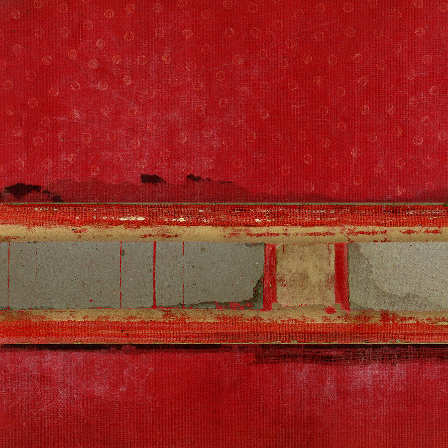 Red Mixed Media - Red Riley Collage Square 1 by Carol Leigh