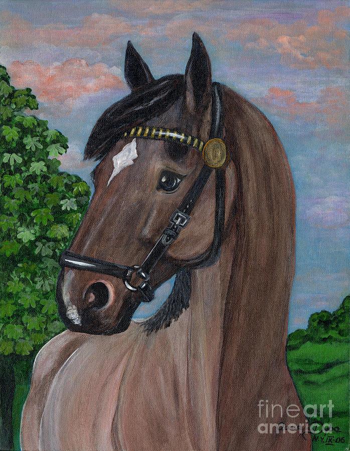 Folkartanna Painting - Red Roan Horse by Anna Folkartanna Maciejewska-Dyba