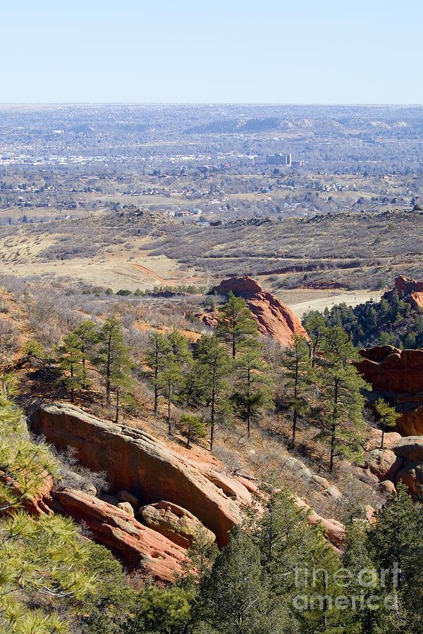 Red Rock Canyon And Colorado Springs Cityscape Photograph