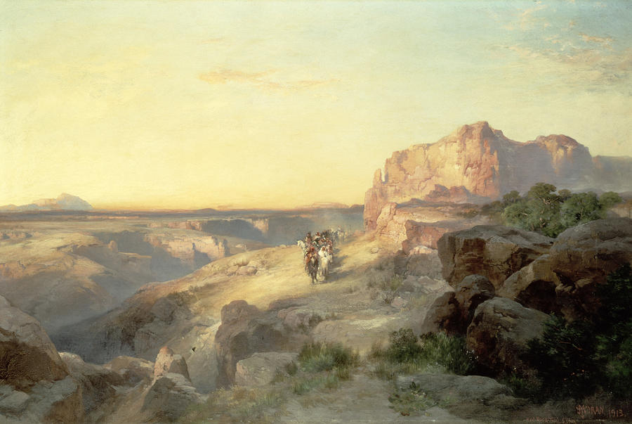 Thomas Moran Painting - Red Rock Trail by Thomas Moran