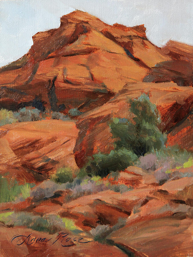 Snow Canyon State Park Painting - Red Rocks At Snow Canyon by Anna Rose Bain