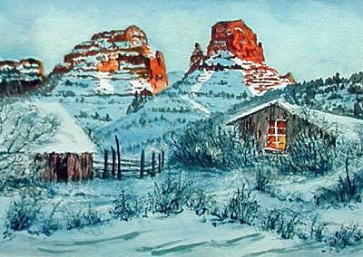 Red Rocks In The Snow Print by Veda Hale