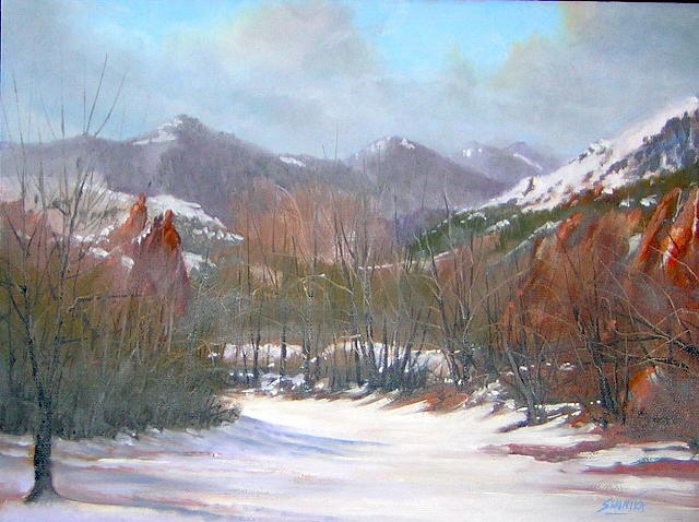 Landscape Painting - Red Rocks Walking Trail 050925-129 by Kenneth Shanika