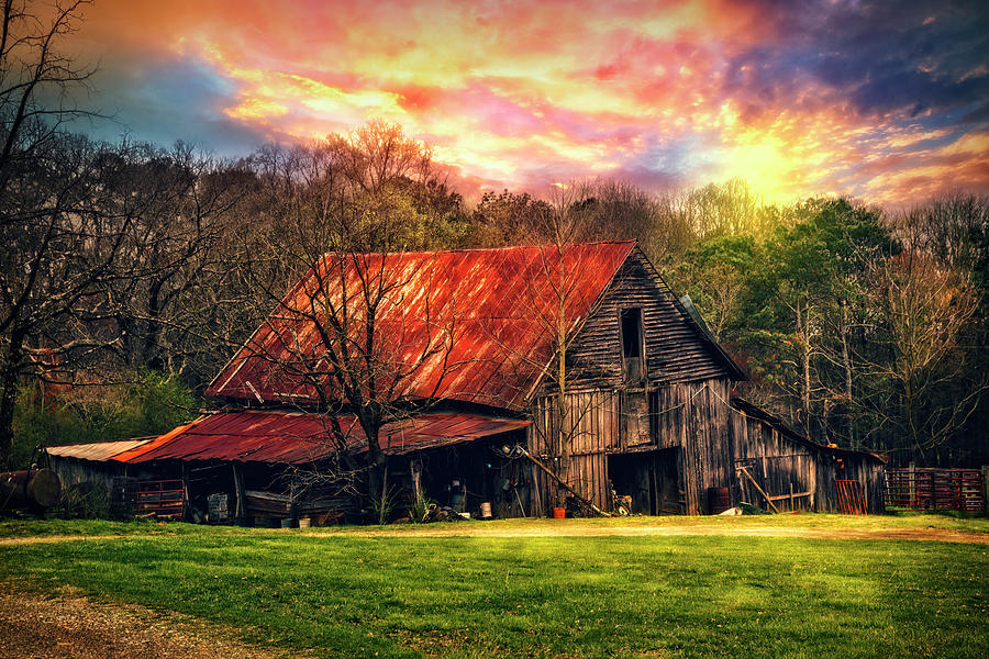 Appalachia Photograph - Red Roof At Sunset by Debra and Dave Vanderlaan