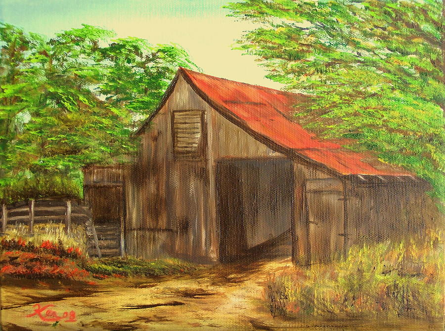 Landscape Painting - Red Roof Barn by Kenneth LePoidevin