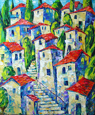 City Landscape Painting - Red Roofs by Keren Gorzhaltsan
