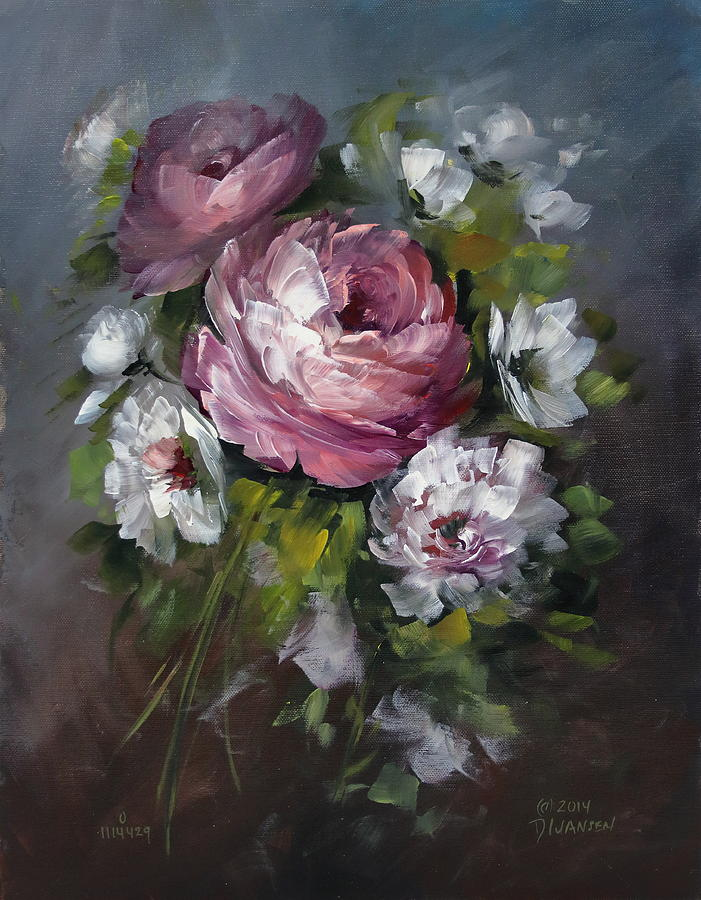 Roses Painting - Red Rose And White Peony by David Jansen
