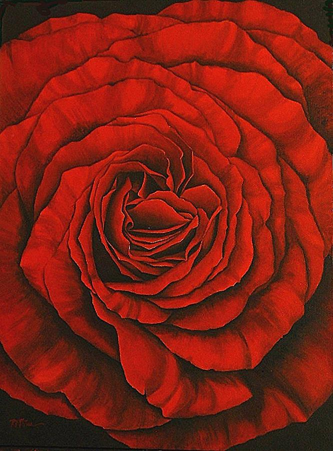Red Painting - Red Rose II by Rowena Finn