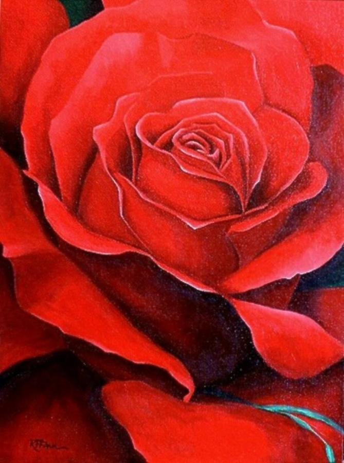Red Painting - Red Rose by Rowena Finn