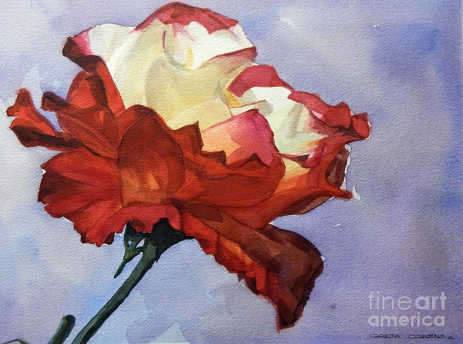 Watercolor of a Red and White Rose on Blue Field by Greta Corens