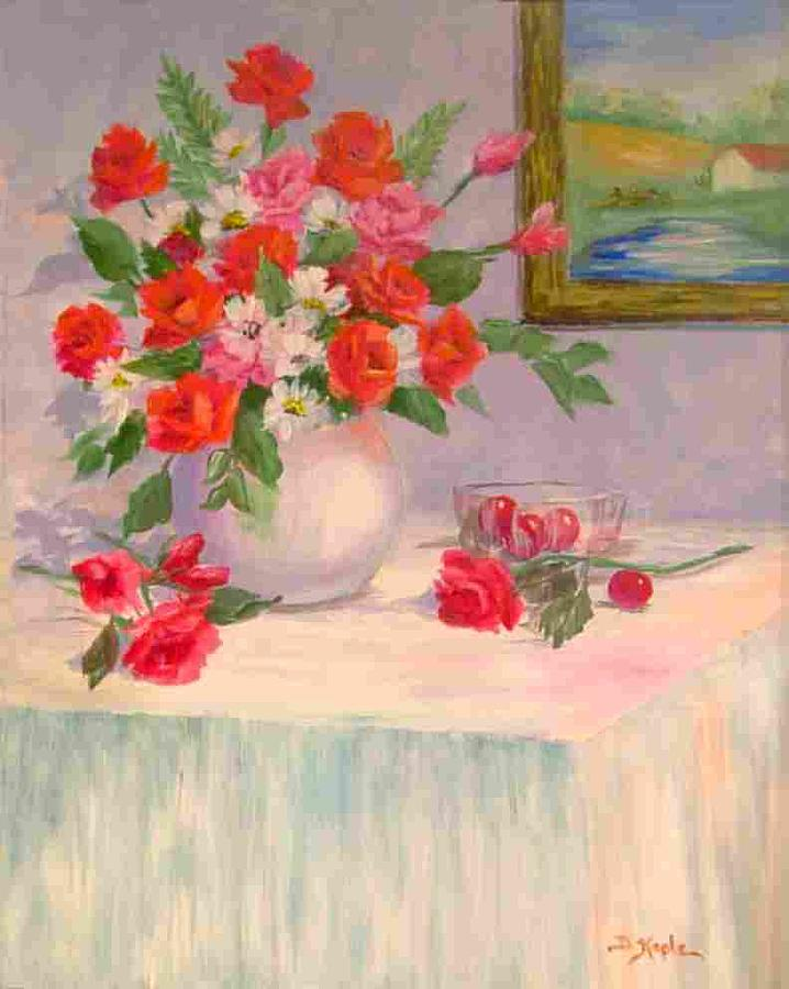 Flora Painting - Red Roses by Della Kaple