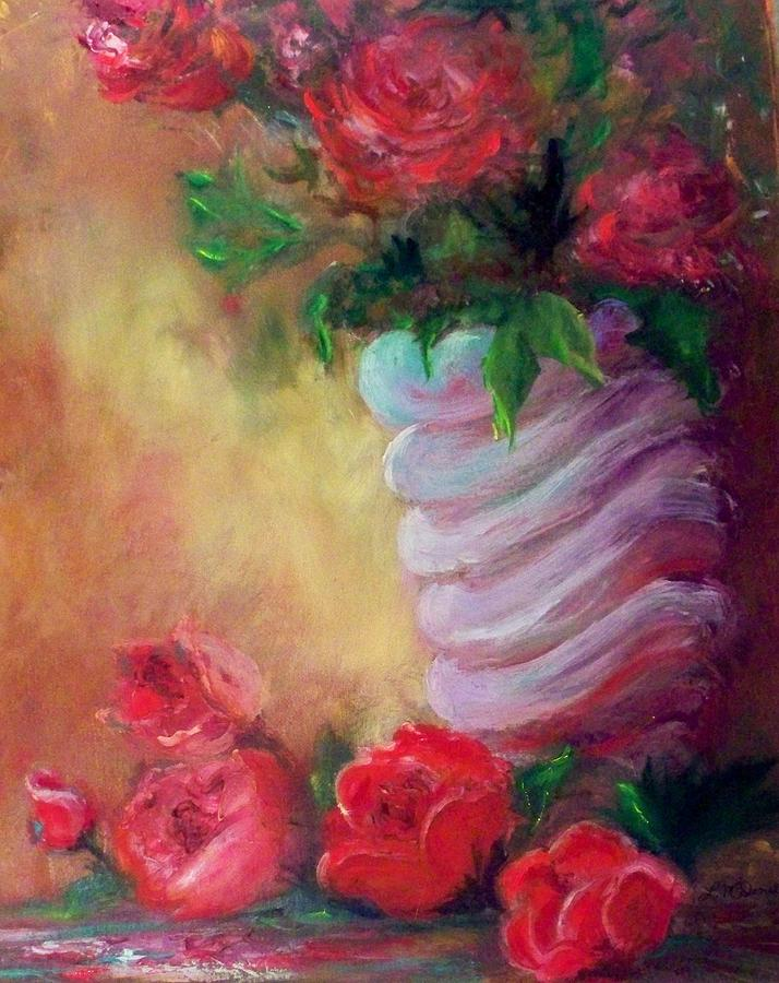 Roses Painting - Red Roses For A Blue Vase by Lynda McDonald