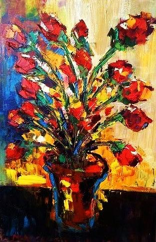 Paintings Painting - Red Roses In Vase by Mark Carson English
