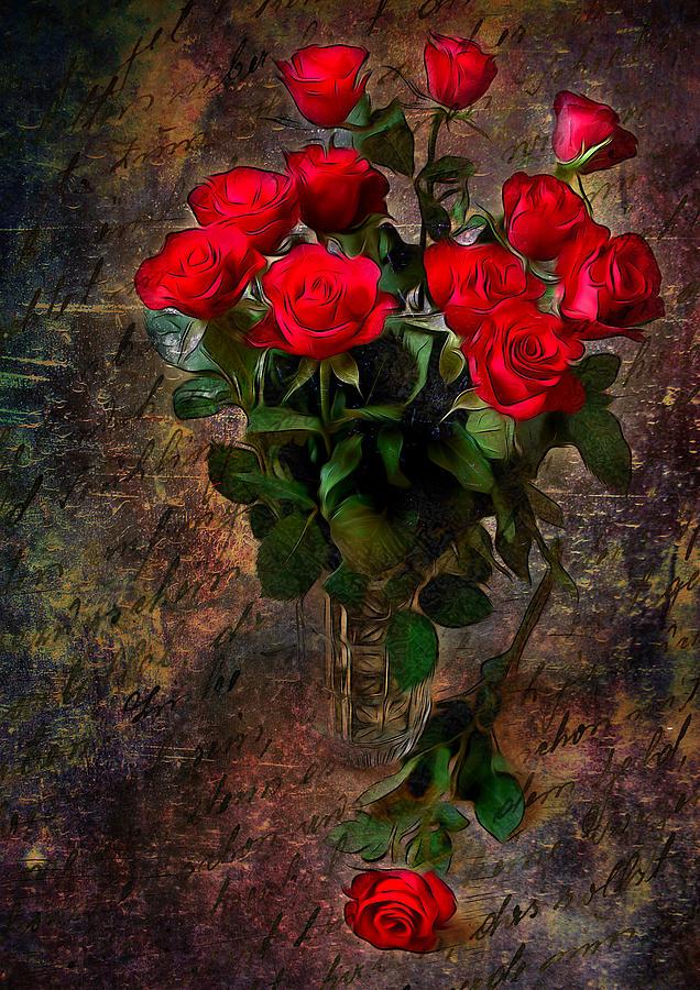Floral Digital Art - Red Roses by Svetlana Sewell