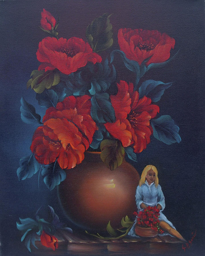 red roses with barbie painting by sead pozegic