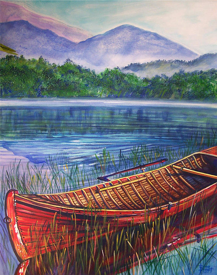 Landscape Painting - Red Rowboat by Diann Baggett