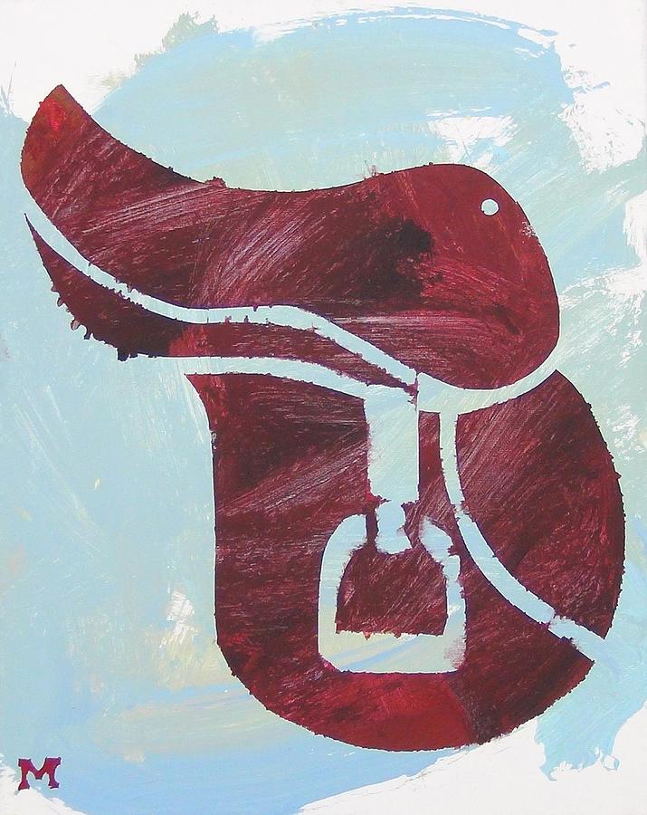 Horse Painting - Red Saddle by Candace Shrope