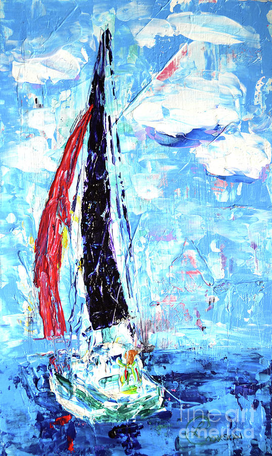Red Painting - Red Sail by Lynda Cookson
