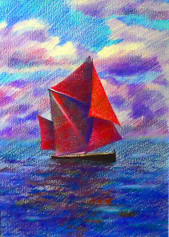Sail Drawing - Red Sails by Anastasia Michaels