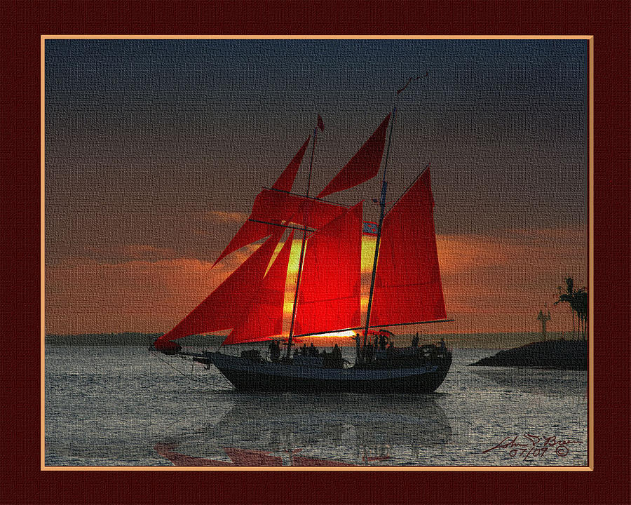 red sails at sunset in Key West Painting by John D Breen