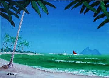 Polynesia Painting - Red Sails by Bob Phillips