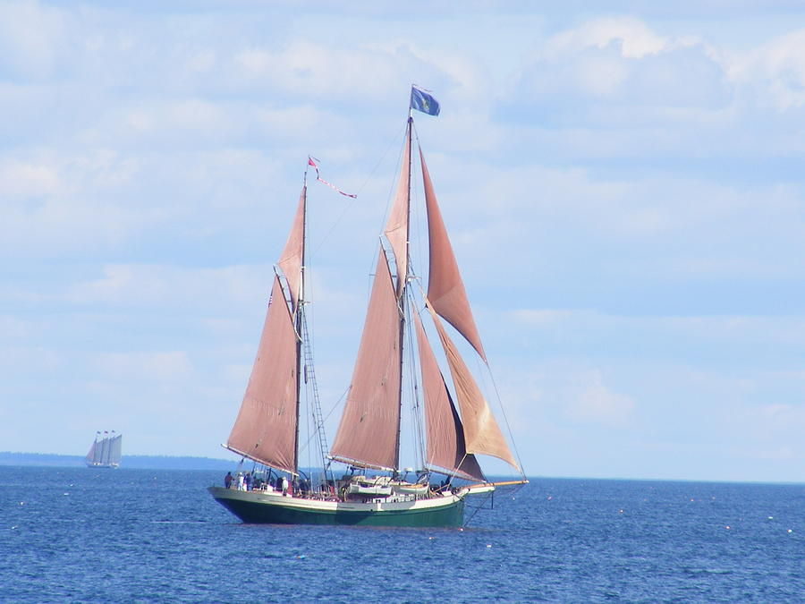 Schooner Photograph - Red Sails In The Sun by David Mills