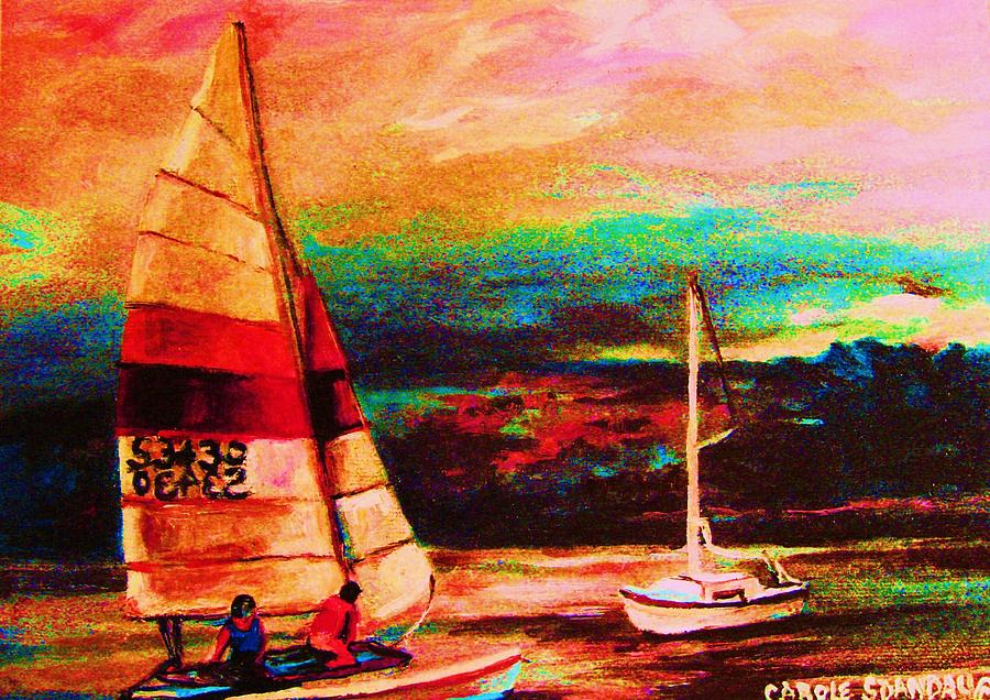 Sailing Painting - Red Sails In The Sunset by Carole Spandau