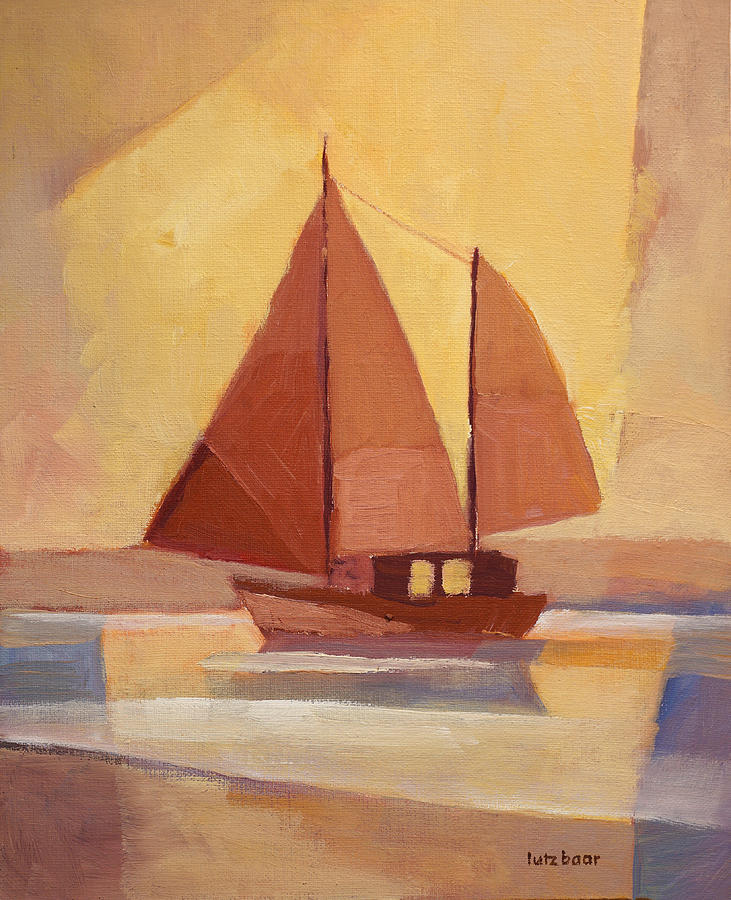 Coast Painting - Red Sails In The Sunset by Lutz Baar