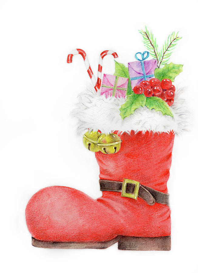Christmas Boots Drawing.Red Santa S Boot Boots