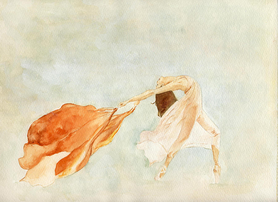 Woman Painting - Red Scarf Ballerina by Maria Tepper