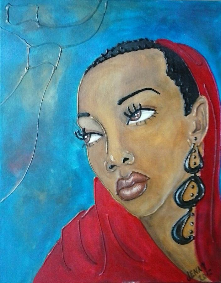 Black Woman Painting - Red Scarf by Jenny Pickens