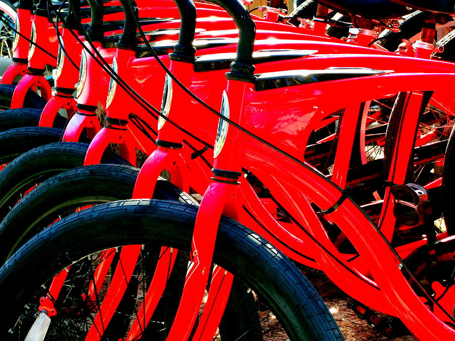 Red Schwinn Bikes by Katy Hawk