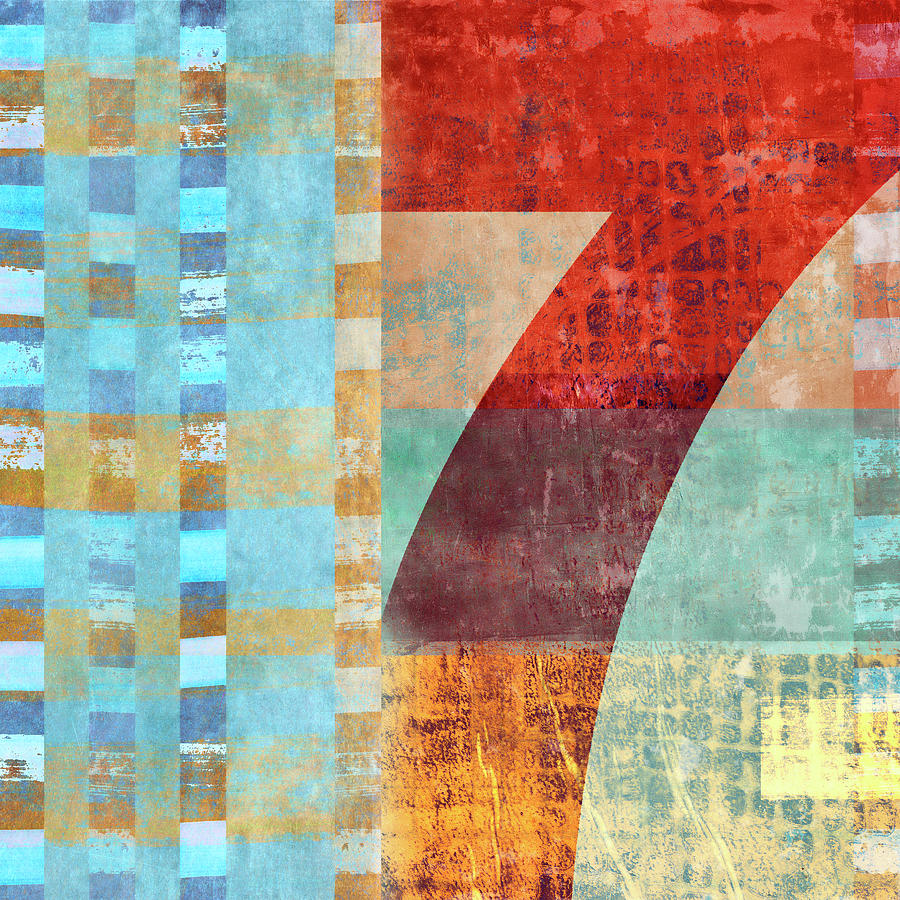 Seven Mixed Media - Red Seven And Stripes Mixed Media by Carol Leigh