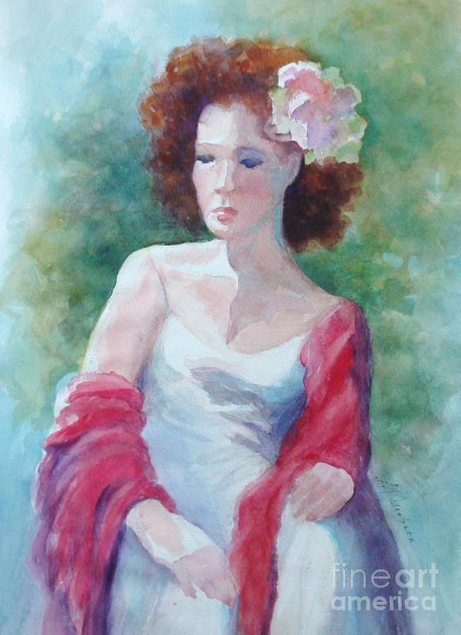 Woman Painting - Red Shawl by Marilyn Jacobson