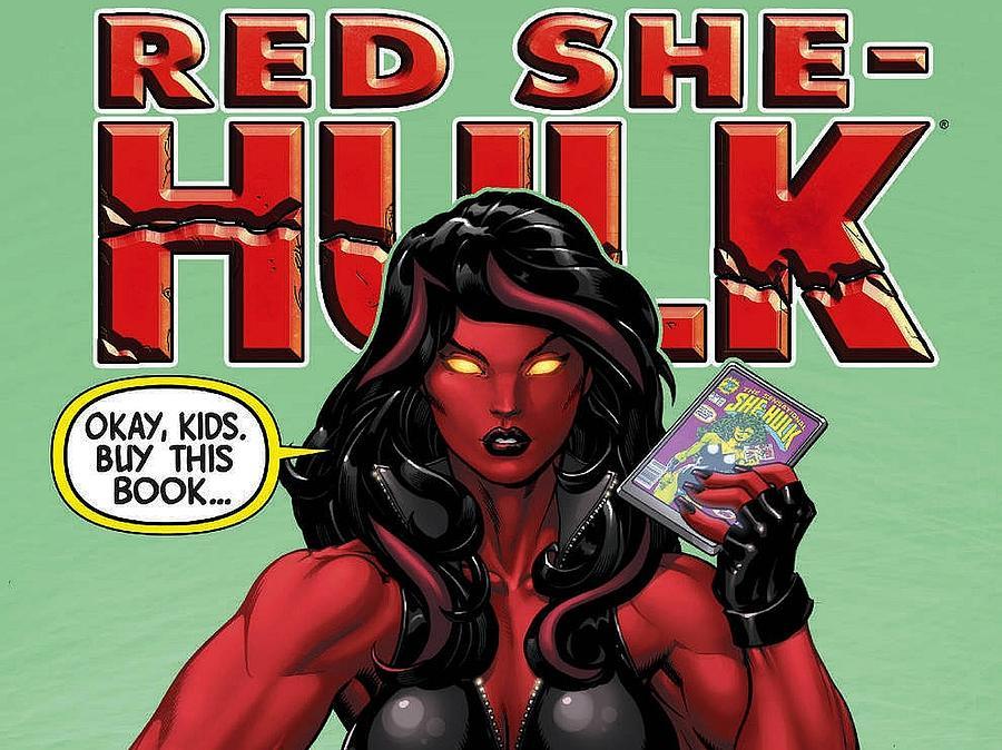 Cartoon Digital Art - Red She-hulk by Dorothy Binder
