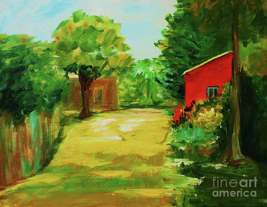 Landscape Painting - Red Shed by Julie Lueders