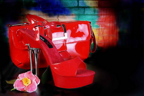 Red Shoes And Bag  Photograph by Rob Morris
