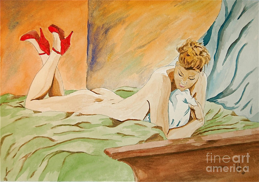 Nude Painting - Red Shoes by Herschel Fall
