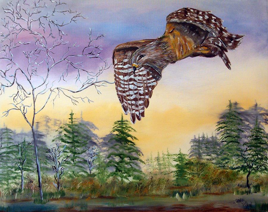 Hawk Painting - Red Shouldered Hawk by Mikki Alhart