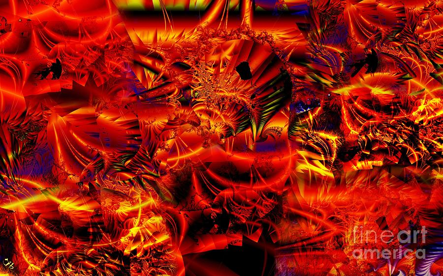 Abstract Digital Art - Red Shred by Ron Bissett