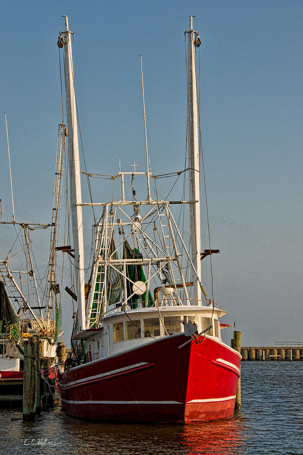 Boat Photograph - Red Shrimp Boat by Christopher Holmes