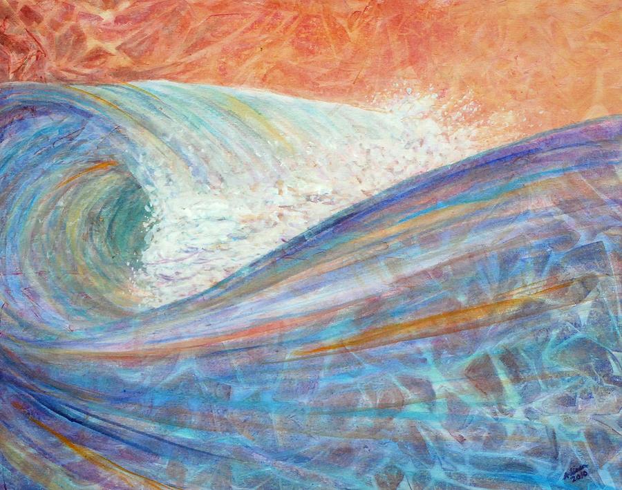 Surf Painting - Red Skies In Morning by Arlissa Vaughn