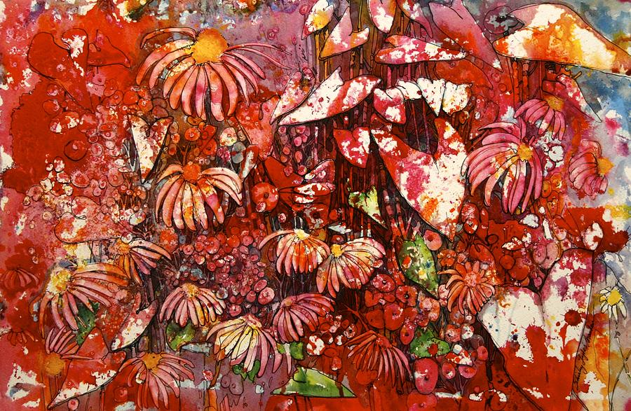 Floral Painting - Red Skins by Shirley Sykes Bracken