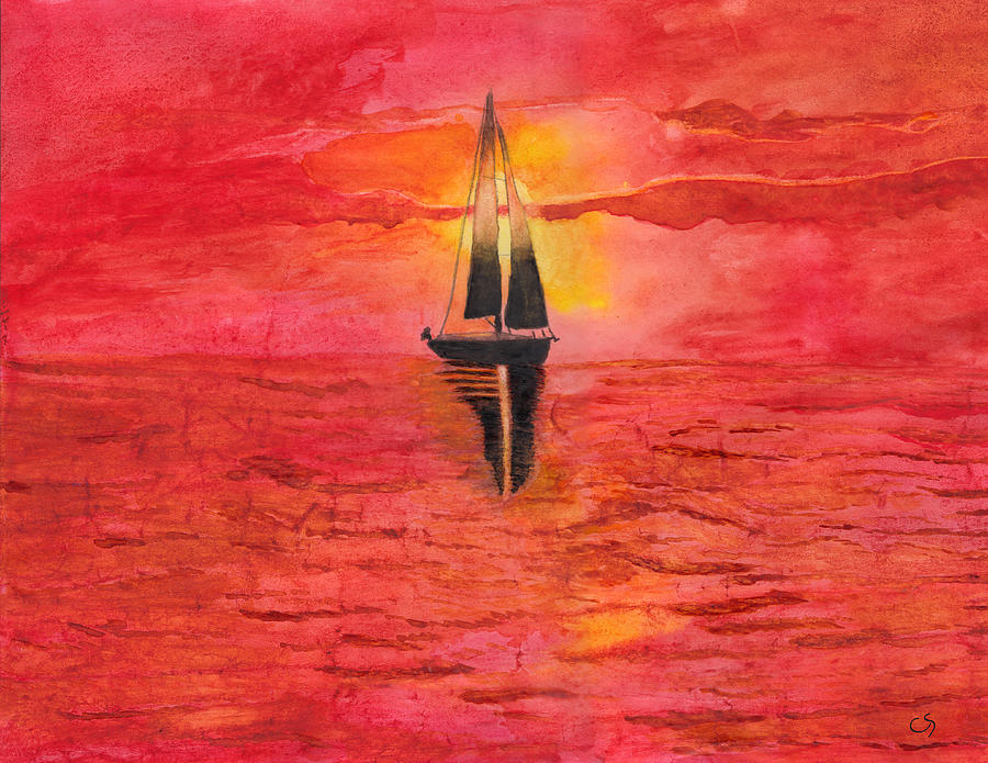 Red Sky At Night Sailors Delight Watercolor Painting