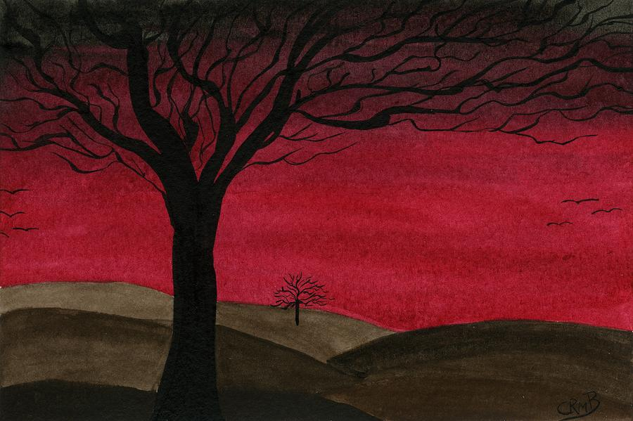 Red Sky - Dark Hills by Candace Bailly
