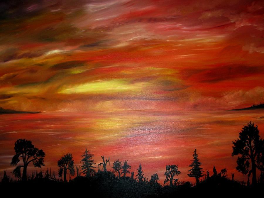 Red Sky Delight Painting by Michael Schedgick