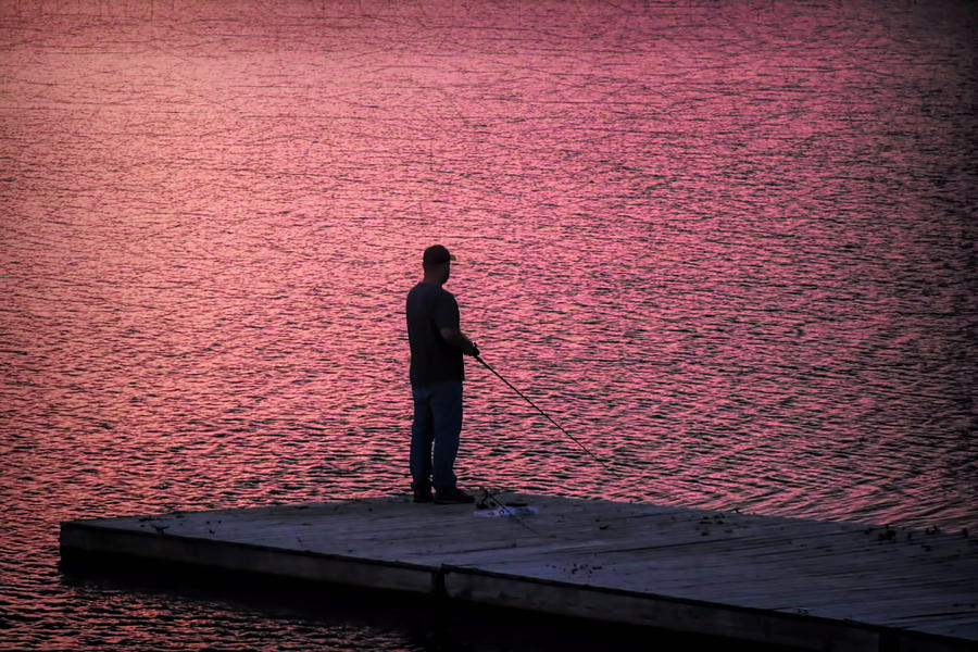 Red Sky Photograph - Red Sky Fishing by Pat Cook