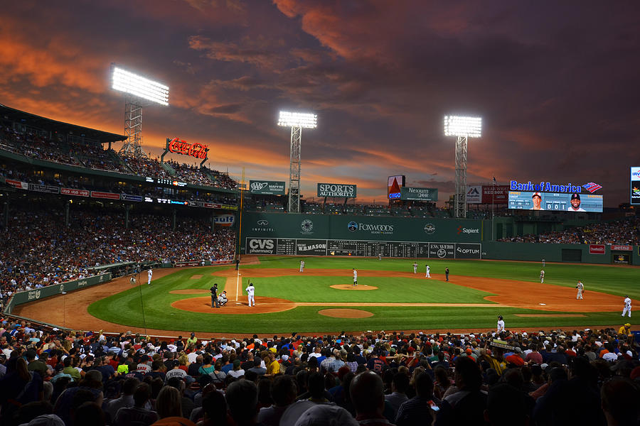 Boston Photograph - Red Sky over Fenway Park by Toby McGuire