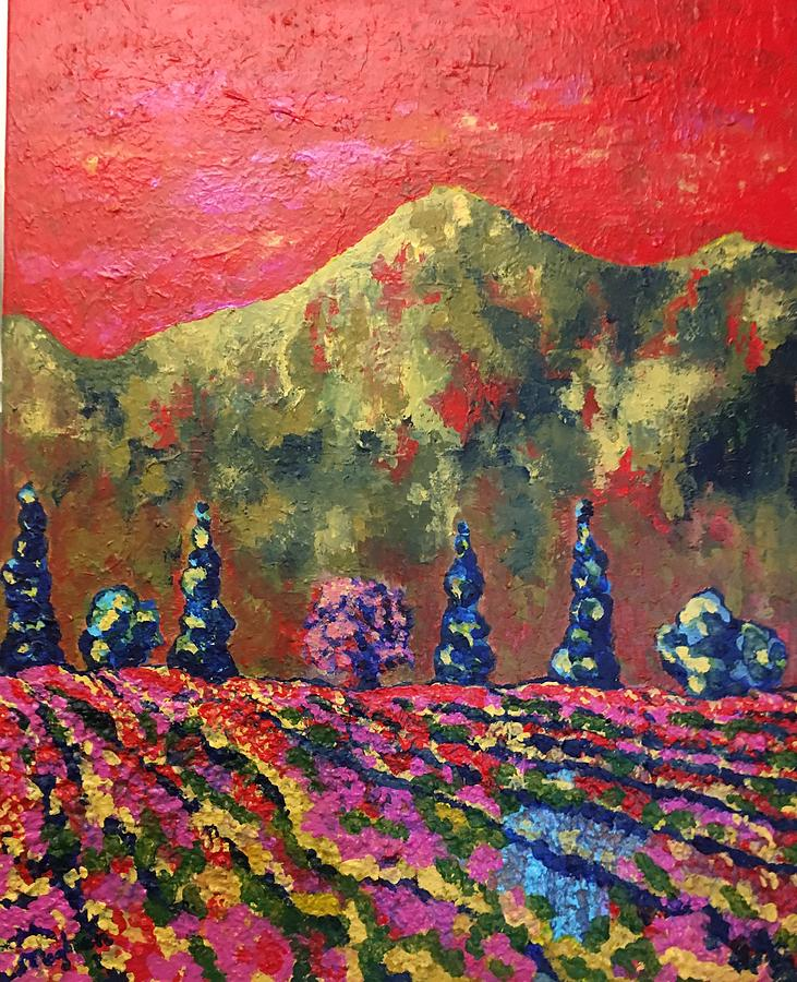 Red Sky Over Tuscany Painting