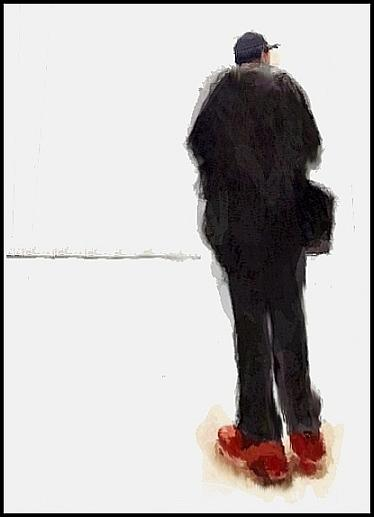 Red Sneakers Drawing by David Faia